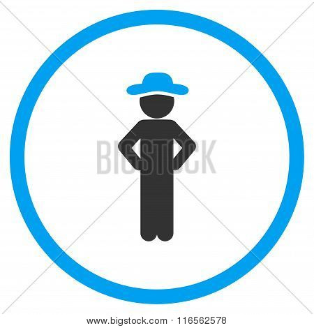 Man Akimbo Rounded Icon