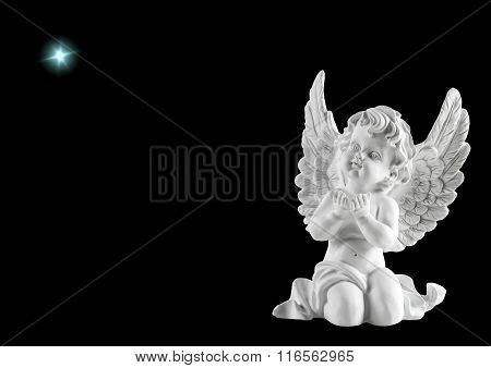 Little White Guardian Angel With Star. Christmas Decoration