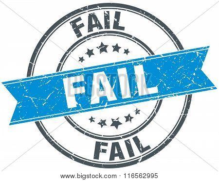 fail blue round grunge vintage ribbon stamp