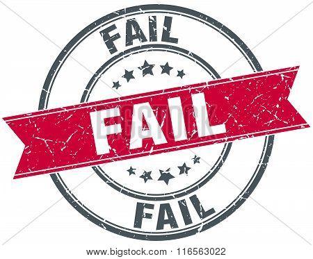 fail red round grunge vintage ribbon stamp