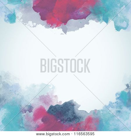 Blue And Pink Winter Paper Watercolor Backdrop With Colorful Blobs And Place For Text.