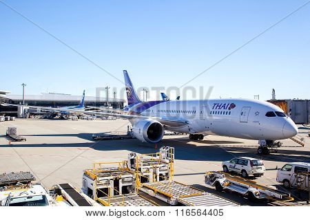 Thai Airways Plane On Airport Tarmac