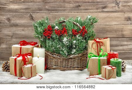 Christmas Decoration Burning Candles And Gift Boxes. Vintage Style