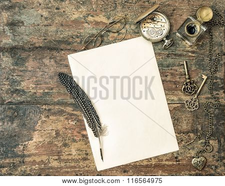 Aged Paper And Antique Writing Accessories. Vintage Style