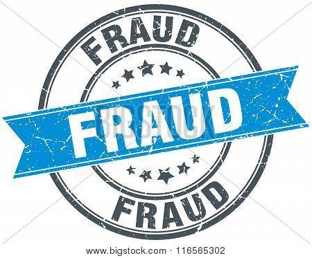 fraud blue round grunge vintage ribbon stamp