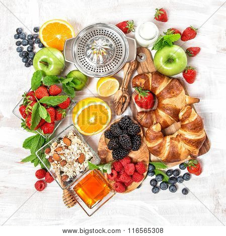 Breakfast Croissants, Muesli, Fresh Berries, Fruits. Healthy Food