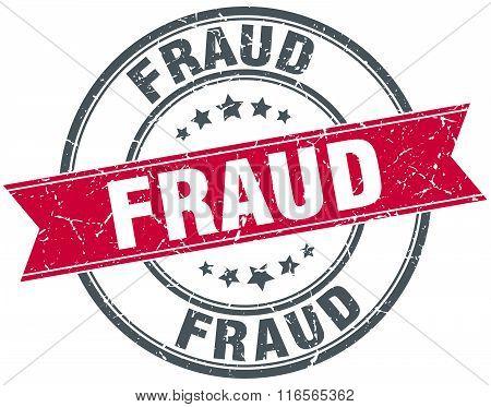 fraud red round grunge vintage ribbon stamp