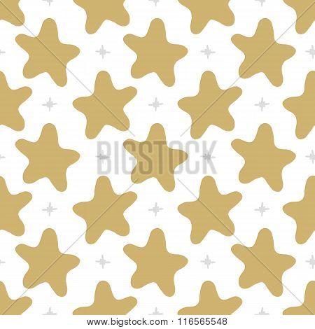 Vector Seamless Pattern Stars In Doodle Style. Hand Drawing.