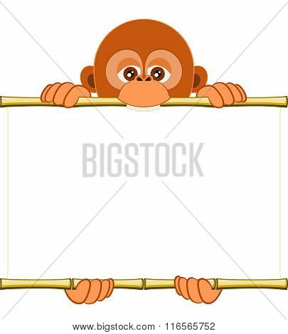 Cartoon Orangutan cub Holding A Blank Sheet Of Paper