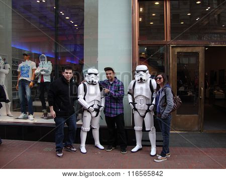 People Pose With Star Wars Characters Storm Troopers In Front Of Adidas Store