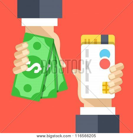 Hand with credit card, hand with cash money flat illustration