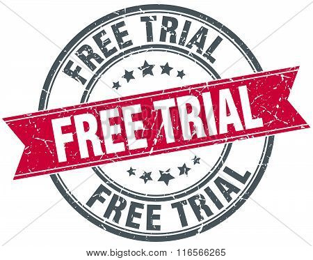 free trial red round grunge vintage ribbon stamp