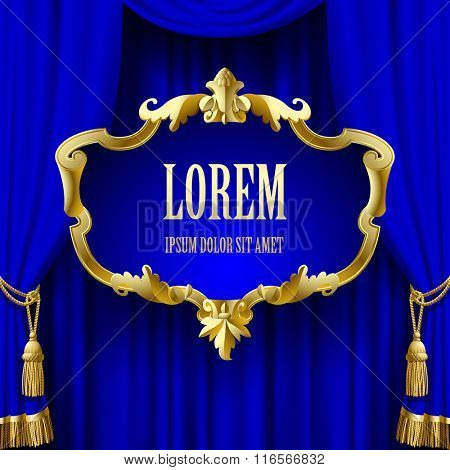 Suspended decorative gold baroque frame on the blue curtain background. Square presentation artistic poster and placard. Vector illustration