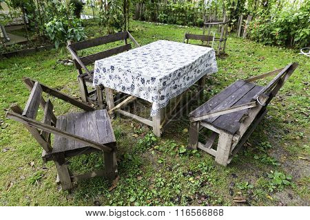 Traditional Turkish Handmade Table And Chairs In A Green Garden