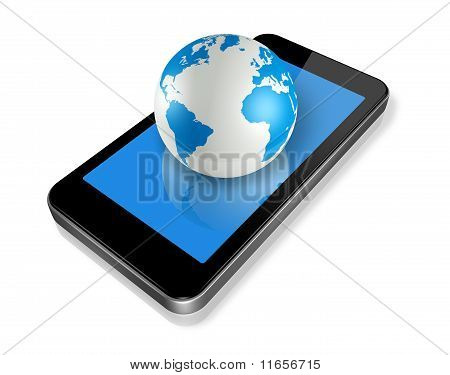 Mobile Phone And World Globe