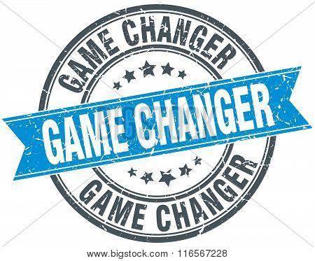 game changer blue round grunge vintage ribbon stamp