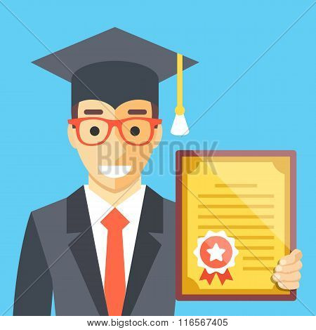 Graduated man with diploma in his hand. Flat illustration