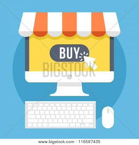 Online shopping and e-commerce flat illustration concept