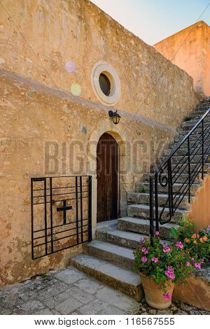 Steps to upstairs in Arkadi monastery on Crete island, Greece