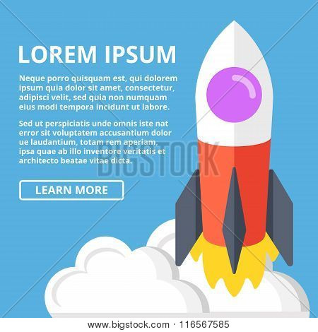 Rocket launch web banner template. Scientific innovations, business startup, technology