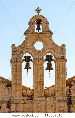 Bell tower at Arkadi monastery on Crete island, Greece