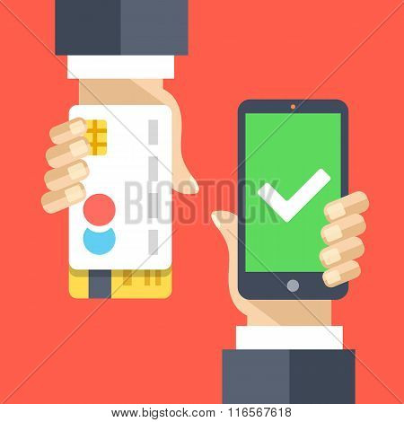 Mobile payment flat illustration concept. Transaction accepted