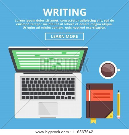 Writing flat illustration concept. Workspace with writer's equipment