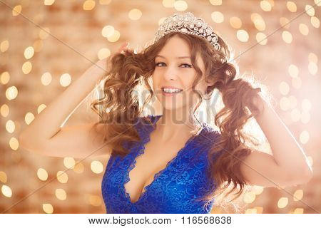 Emotions Facial expressions surprised young happy beautiful woman. Girl emotional looking excited throwing up hands expressing smile with teeth. Shocked surprised stunned. Positive emotion human face