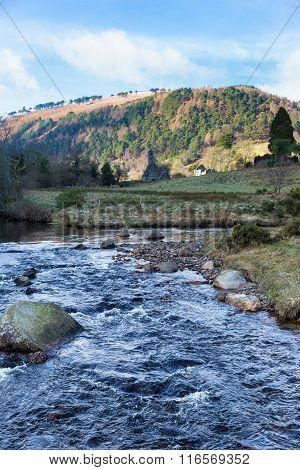 Glenealo River Running Through The Valley In Glendalough