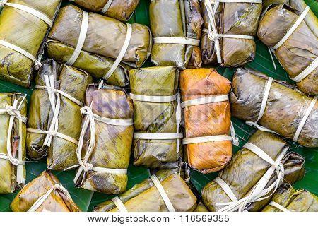 Thai Dessert, Khao Tom Mad, Steamed Sticky Rice With Banana