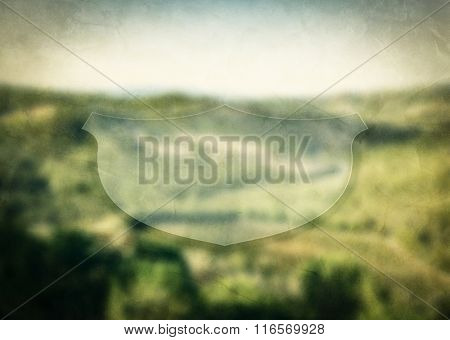 Empty banner for inspirational, motivational message on nature green landscape blurred background