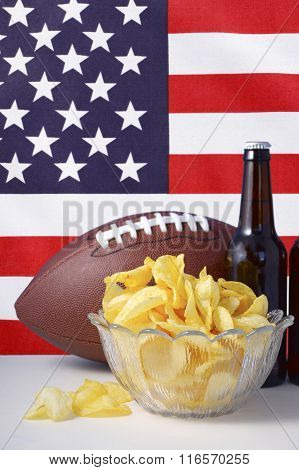 American Football With Beer And Chips.