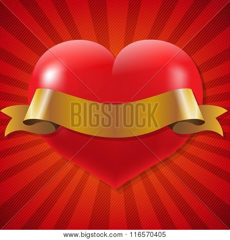 Red Heart With Ribbon With Sunburst Background