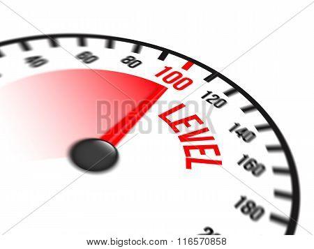 Speedometer Focused On A Hundred Level