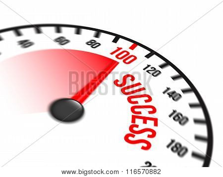 Speedometer Focused On A Hundred Percent Success