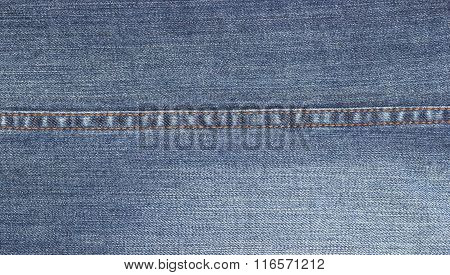 Closeup Of Denim Jeans Texture With Seams