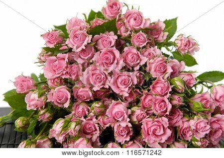 Set of bouquet rose on mat background