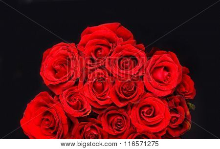 bouquet red rose on black background