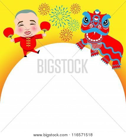 Chinese New Year Lion Dance And Man With Smile Mask
