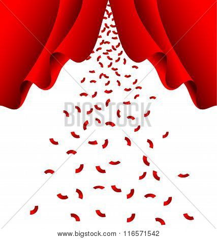 Red Ribbon Fall From Red Curtain