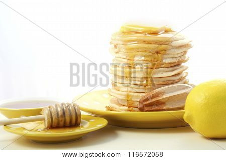 Pancakes, Honey And Lemons