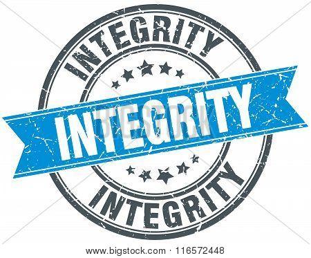 integrity blue round grunge vintage ribbon stamp