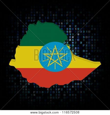 Ethiopia map flag on hex code illustration