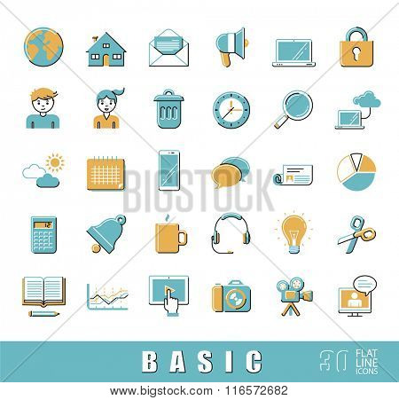 Collection of flat line universal icons. Vector illustration. Flat line basic icons for web and mobile applications