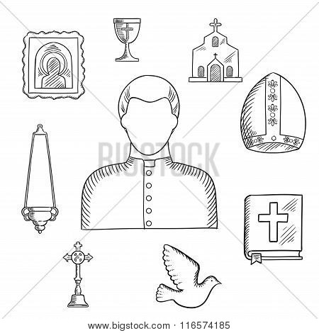 Priest and religious icons or symbols, sketch