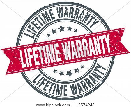 lifetime warranty red round grunge vintage ribbon stamp
