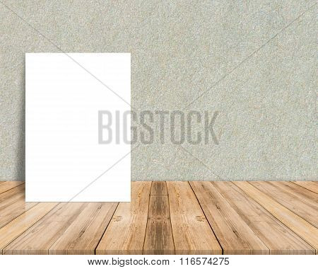 Blank White Paper Poster At Tropical Plank Wooden Floor And Paper Wall, Template Mock Up For Adding