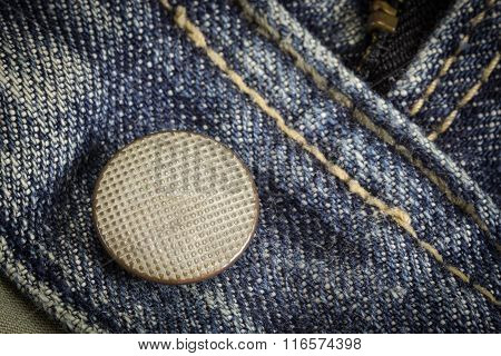 Closeup Of Texture Background  Jean, Zipper And Button