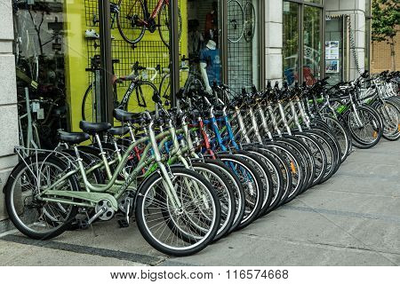 Rental Bicycles On Display