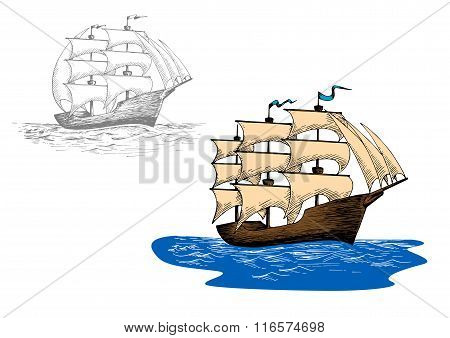 Sketch of old sailing ship at sea waves